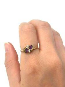Vintage 9ct Yellow Gold 375 Amethyst & Gemstone CZ Cluster Ring Size Q #1677