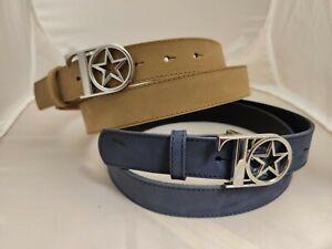 *Neu* SET blau + sand THOM Thomas Rath Gürtel BW 105 Nubuk silber Logoschnalle