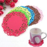 4Pcs Mat Pad Cushion Tea Cup Bowl Holder Coasters Flower Placemats Cute W1E