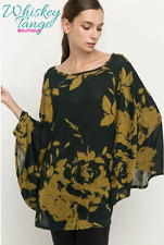 Boatneck Floral Poncho - L - Hunter Green & Mustard - by Mittoshop