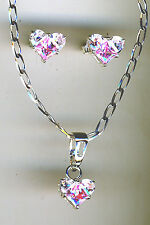 """925 Sterling Silver Pink & Clear C. Zirconia Heart Necklace & Earring Set 18"""""""