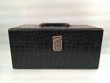 Vintage Black Vinyl CD Storage Case or MakeUp Case w/Handle Lock & Key