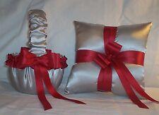 Silver Satin / Red Trim Flower Girl Basket & Ring Bearer Pillow #3