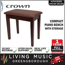 NEW Crown Compact Keyboard Piano Stool Bench Storage Compartment (Walnut)