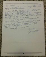 Johnny O'Neil Signed Letter Baseball Content, Autographed Letter