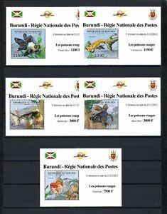 Burundi 2012 Sc#1208a-d,#1233  Goldfish Breeds  MNH Mini Sheet Set $20.80