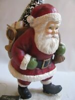 "Santa Figure with Bag of Toys Snowy Brush Tree 10"" Bethany Lowe Xmas Traditional"
