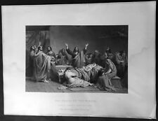 1858 The Art Journal Original Antique Print The Death of The Virgin by Caminade