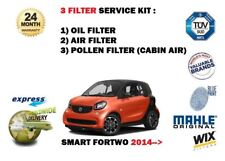 FOR SMART FORTWO C453 0.9 1.0 2014-> NEW OIL AIR POLLEN 3 FILTER SERVICE KIT