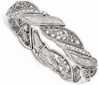 1928 Jewelry - Silver-tone White Crystal Filigree Stretch Bracelet
