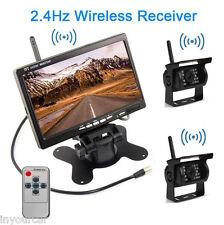 "2xCar Rear View Reversing IR Camera +7"" Mirror Monitor For Truck Trailer RV Bus"
