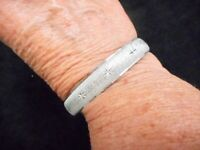 Authentic Vintage 1960's MONET Matte Silver Tone Atomic Style Bangle Bracelet