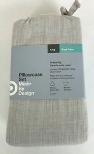 Made by Design Easy Care Standard Size Beige Linen (Brown) Pillowcases (2) NEW