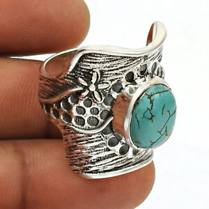 Halloween Gift Turquoise Gemstone Ring Size 8 925 Sterling Silver Jewelry Z2