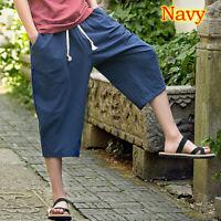 UK Summer Men's Harem Cropped Pants Cotton Linen Loose Capri Oversize Trousers