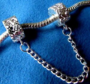 BRACELET STOPPERS SAFETY CHAIN CHARMS SWIRL DESIGN + Pouch