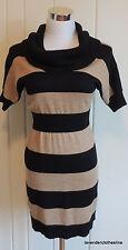 Ann Taylor Loft XSP XS Black & Tan Striped Tunic Sweater Dress NWT $89.50