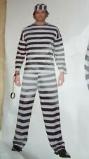Adult Mens Deluxe Convict Costume Robber Prisoner Stag Party Fancy Dress Outfit