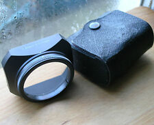 PENTAX m42  28mm f3.5 clamp on lens hood  51mm over 49mm & original worn case