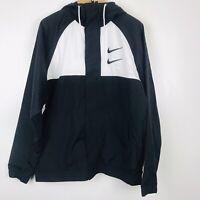 Nike Sportswear Swoosh Woven Hooded Jacket Black White Size Medium CJ4888-011