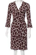 $398 DIANE VON FURSTENBERG DVF New Julian Two Mini Brown Wrap Dress - Sz 10
