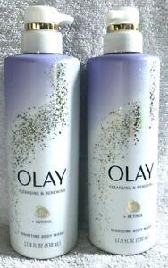 2x Olay Nighttime Body Wash Cleansing & Renewing + Retinol 17.9 fl oz Each