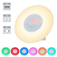 Reloj Despertador Digital LED luz del amanecer simulación de sonido de la naturaleza Lámpara de cabecera radio