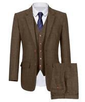 Brown Men 3 Piece Suit Vintage Tweed Check Tan Party Prom Formal Tuxedo Suits