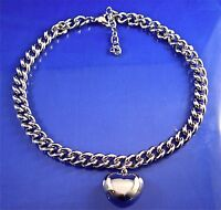 """STAINLESS STEEL LARGE CURB LINK CHAIN PUFFED HEART NECKLACE, 16"""" + 2"""" EXTENDER"""