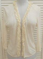 ANNE KLEIN OPEN CARDIGAN Medium size 10 Cream RUFFLES Long Sleeve Women's