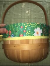 Target Wooden Basket With Handle ~ Green / Floral Liner/ Yellow Ties