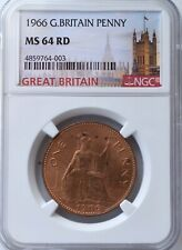 More details for 1966 elizabeth ii penny 1d ngc ms64 rd great britain britannia