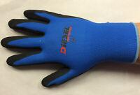 6 Pair Diesel Blue Safety Gloves Latex Coated Grip Cut Resistant