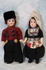 """c.1920's 7.5"""" Antique Bisque Dutch Dolls Herm Steiner Original Clothes Germany"""