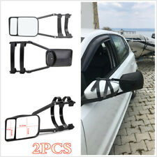 1 Pair Adjustable Clip-On Extension Towing Mirror Black For Trailer Safe Hauling