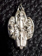 Catholic Sterling Silver Icon crucifix Cross Jesus & Saints Pendant Charm medal