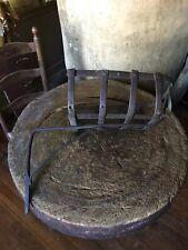 HUGE Early Antique Hand Forged Iron Cresset Lighting Device Patina AAFA