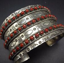 WIDE Vintage ZUNI Sterling Silver & CORAL Snake Eye Petit Point Cuff BRACELET