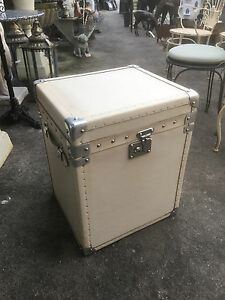 English Leather trunk ivory leather Chest side table storage Box Hand Made