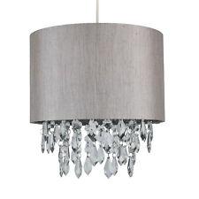 Modern Silver Grey Faux Silk Fabric Jewelled Ceiling Light Shade Pendant Shade