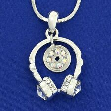 Music Pendant W Swarovski Crystal Headphones CD Musical Necklace New Gift