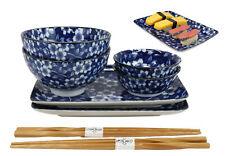 Japanese Blue Floral Ceramic Sushi Dinner Set Plates Rice Sauce Bowls Chopsticks