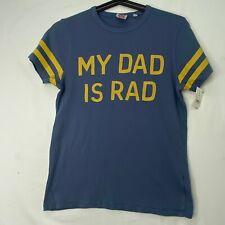 Junk Food Boys Kids Size L XL T-Shirt My Dad is Rad Fathers Day Blue Gold Cotton