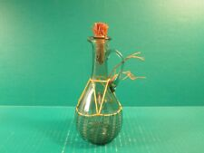 Small Green Glass Oil/Vinegar Pitcher With Green Netting And Straw Stopper