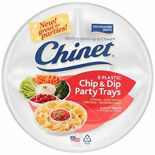 Chinet 8-Pack Chip and Dip Plastic Party Platter Plate Trays