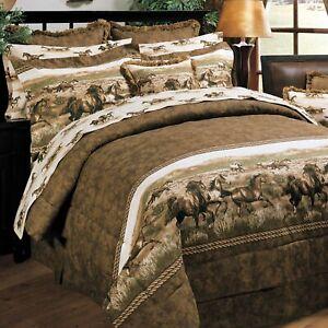 Blue Ridge Trading Wild Horses Queen 8pc Comforter Set w/sheets Mustangs Prairie