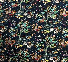 Wi112 Bunny Rabbit Hedgehog Squirrel Enchanted Forest Cotton Quilt Fabric