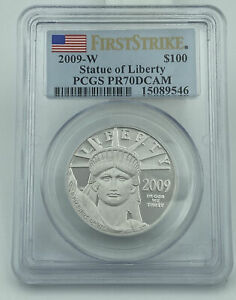 2009-W PCGS PR70DCAM Statue Of Liberty $100 Platinum Eagle First Strike