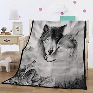 WONGS BEDDING Wolf Throw Blanket Reversible Warm Fleece Blanket Wolf Printed for