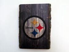 Pittsburgh Steelers Wood Sign - Natural Edge Wooden Plaque with Steelers Logo